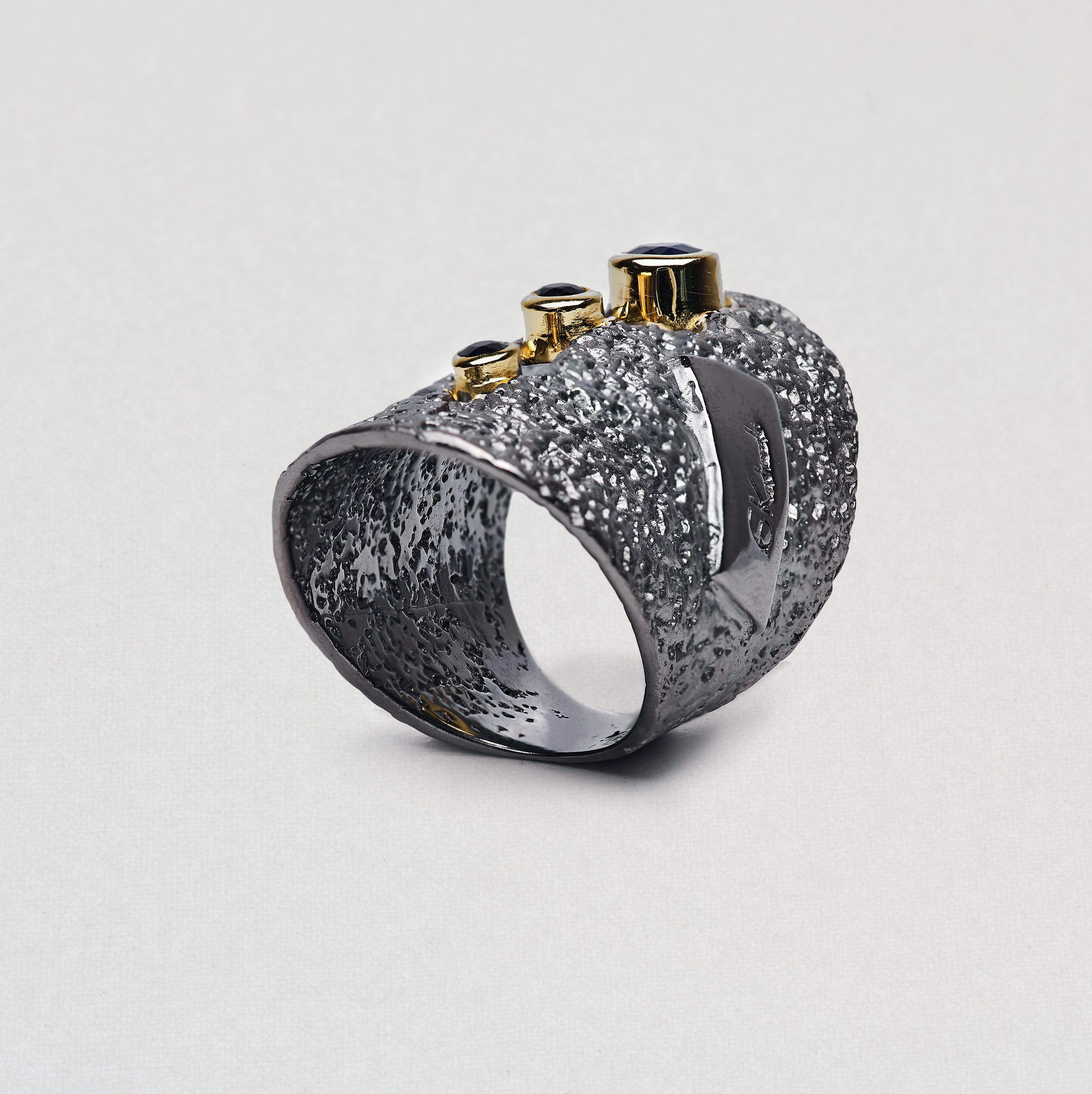 Noctenia Ring, Gold, gray, Rhodium, Sapphire, Serial, spo-disabled, StoneColor:DeepBlue Ring