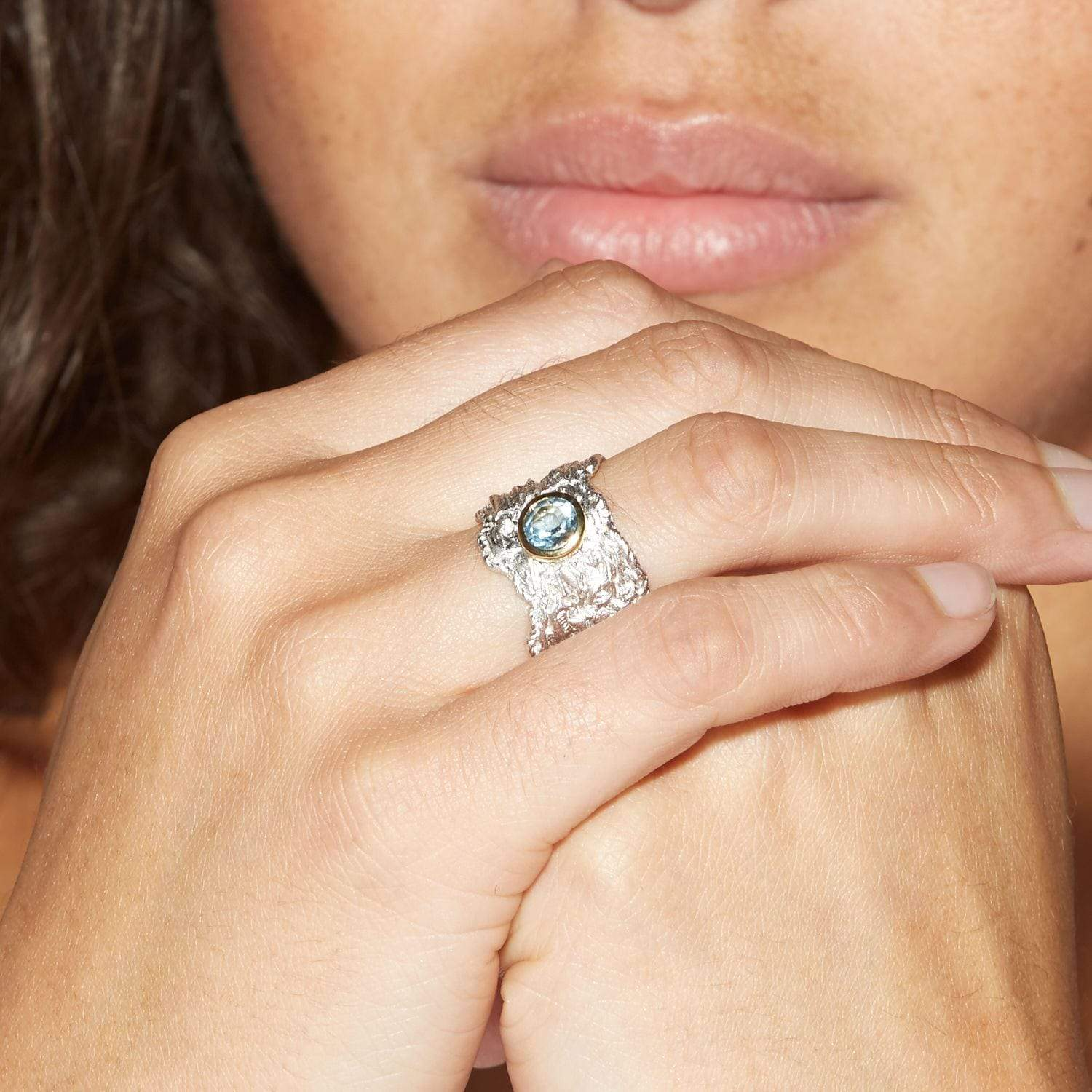 Althea Ring, Gold, Rhodium, Serial, silver, spo-disabled, StoneColor:Blue, Topaz Ring