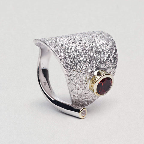 Procella Ring, Garnet, Gold, Rhodium, Serial, silver, spo-disabled, StoneColor:Red, Zirconia Ring