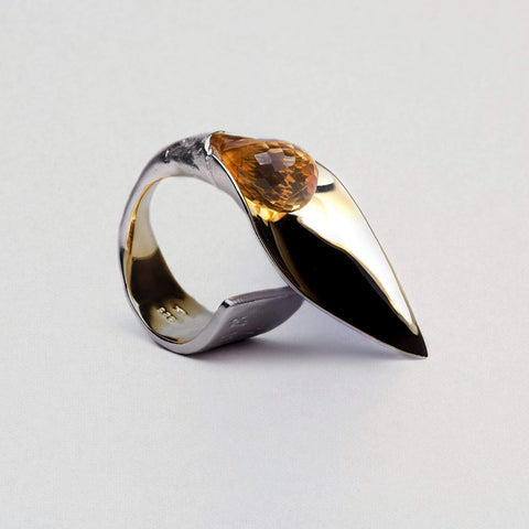 Lamina Ring, Citrine, Gold, Rhodium, Serial, silver, spo-disabled, StoneColor:Orange Ring