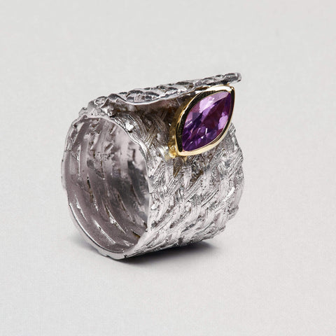 Meridya Ring, Amethyst, Gold, Rhodium, Serial, silver, spo-disabled, StoneColor:purple Ring