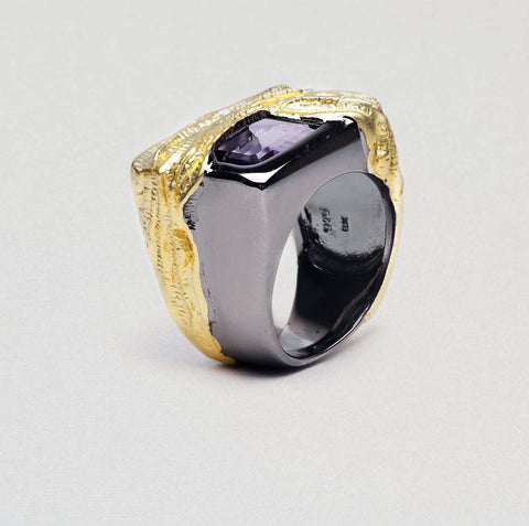Arumis Ring, Amethyst, Gold, gray, Rhodium, Serial, spo-disabled, StoneColor:purple Ring