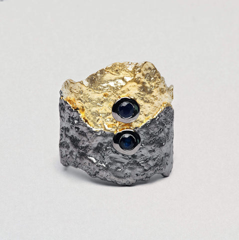 Pentiama Ring, Gold, gray, Rhodium, Sapphire, Serial, spo-disabled, StoneColor:DeepBlue Ring