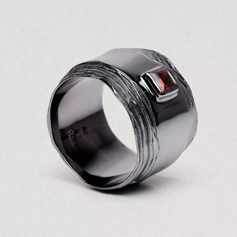Emulina Ring, Garnet, gray, Rhodium, Serial, spo-disabled, StoneColor:Red Ring