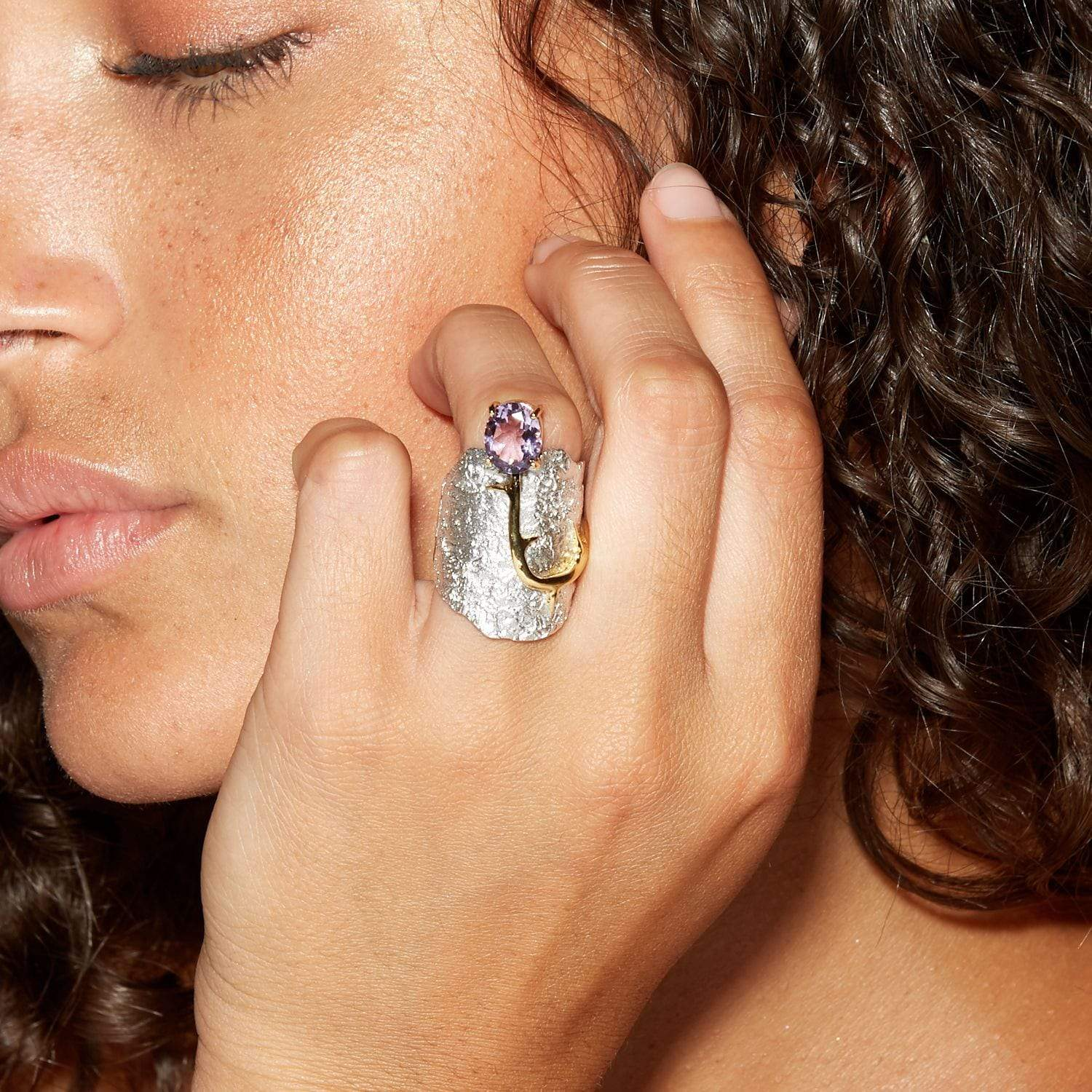 Adelinde Ring, Amethyst, Gold, Rhodium, Serial, silver, spo-disabled, StoneColor:purple Ring