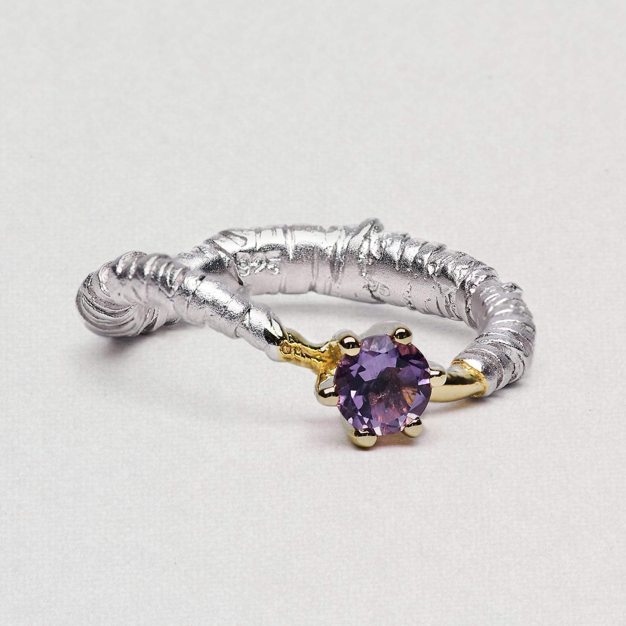 Alarice Ring, Amethyst, Gold, Rhodium, Serial, silver, spo-disabled, StoneColor:purple Ring