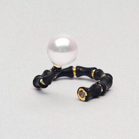 Galiena Ring, Anthracite, black, Gold, Pearl, Serial, spo-disabled, StoneColor:White, Zirconia Ring