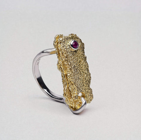 Divitania Ring, Gold, Rhodium, Ruby, Serial, silver, spo-disabled, StoneColor:Red Ring