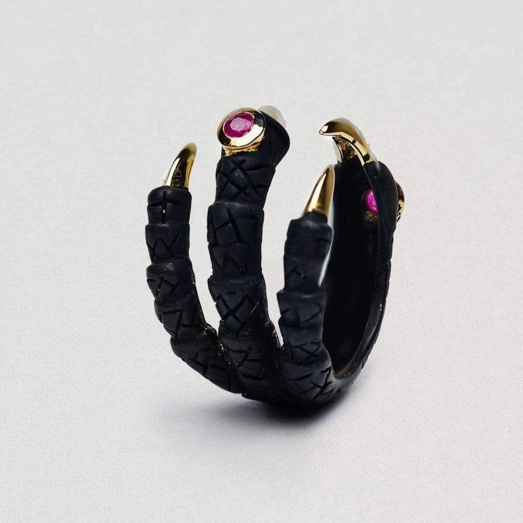 Paradisa Ring, Anthracite, black, Gold, Ruby, Serial, spo-disabled, StoneColor:Red Ring