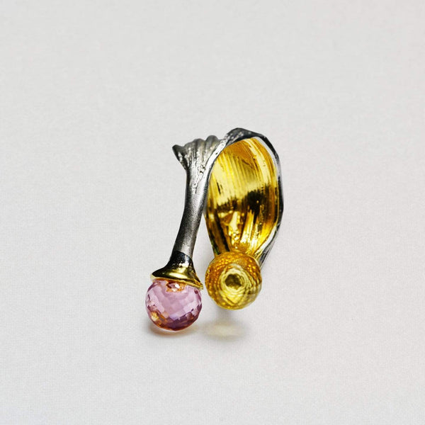 Handmade 925 Sterling Silver Delicia Garnet Ring with All Gold Plating by German Kabirski