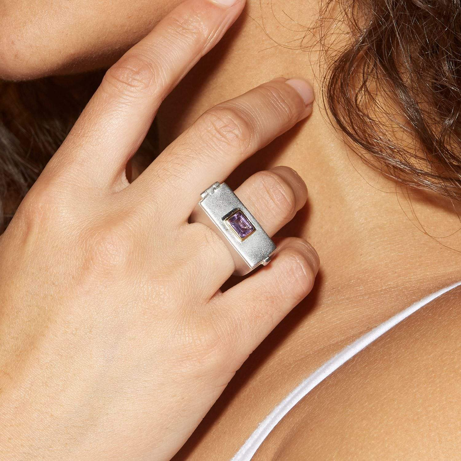 Maida Ring, Amethyst, Gold, Rhodium, Serial, silver, spo-disabled, StoneColor:purple Ring