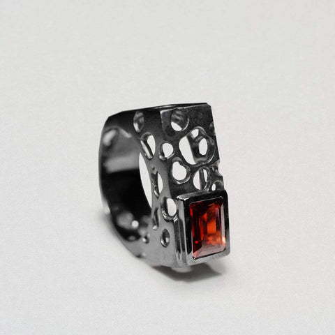 Tova Ring, Garnet, gray, Rhodium, Serial, spo-disabled, StoneColor:Red Ring