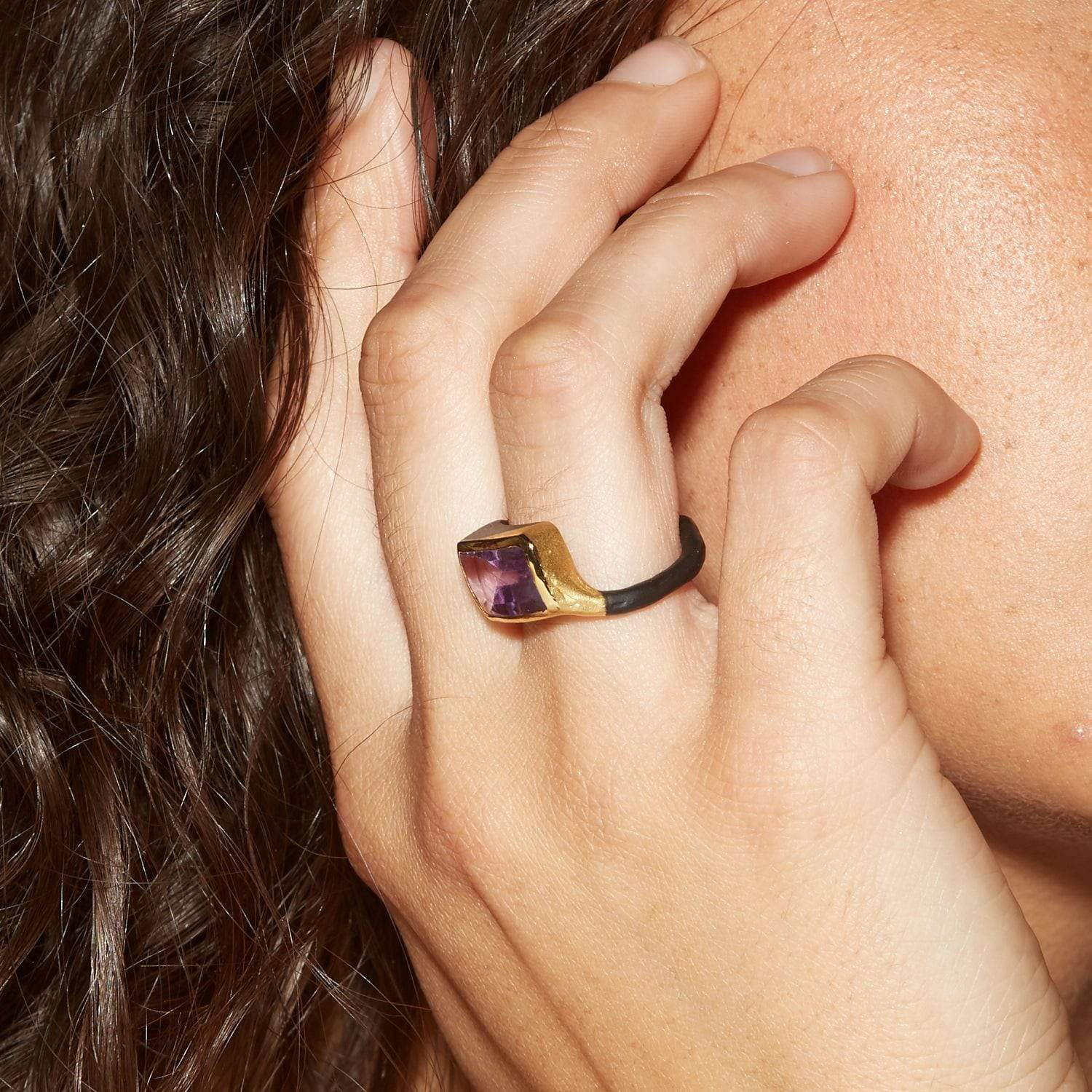 Adria Ring, Amethyst, Anthracite, black, Gold, Serial, spo-disabled, StoneColor:purple Ring