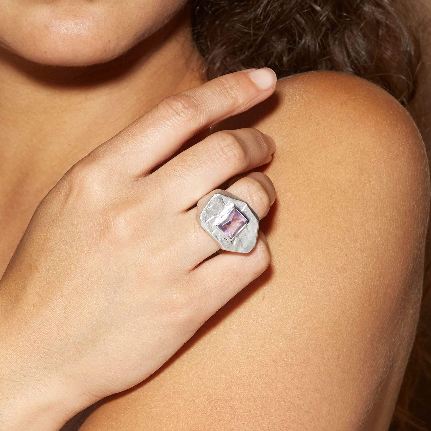 Shirin Ring, Amethyst, Rhodium, Serial, silver, spo-disabled, StoneColor:purple Ring