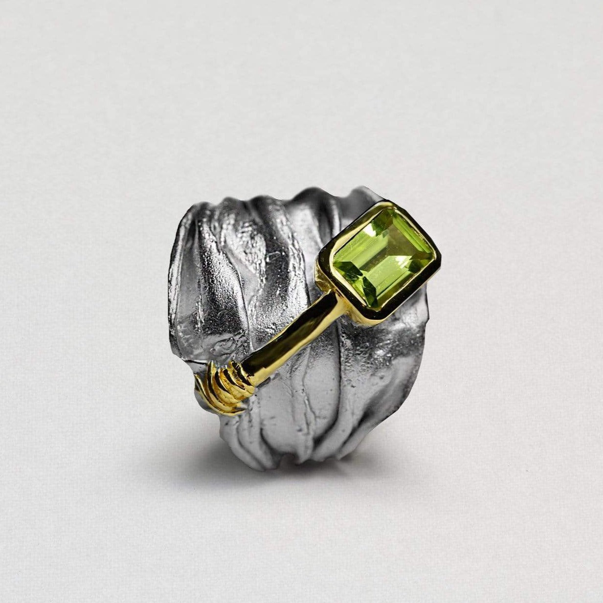 Ethelinda Ring, Gold, Peridot, Rhodium, Serial, silver, spo-disabled, StoneColor:Green Ring