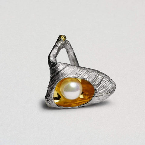 Arcadia Ring, Gold, Pearl, Rhodium, Serial, silver, spo-disabled, StoneColor:White, Zirconia Ring