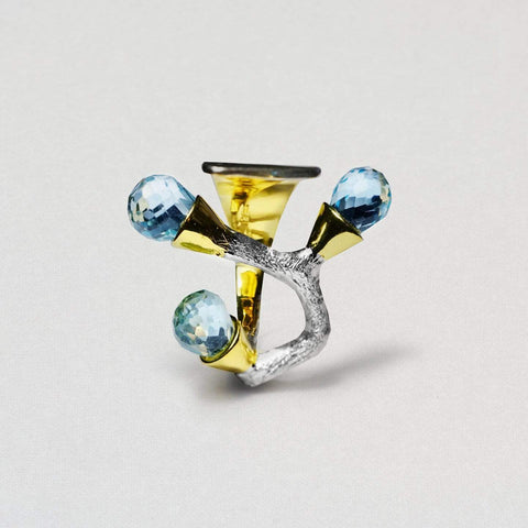 Cybele Ring, Gold, Rhodium, Serial, silver, spo-disabled, StoneColor:Blue, Topaz Ring