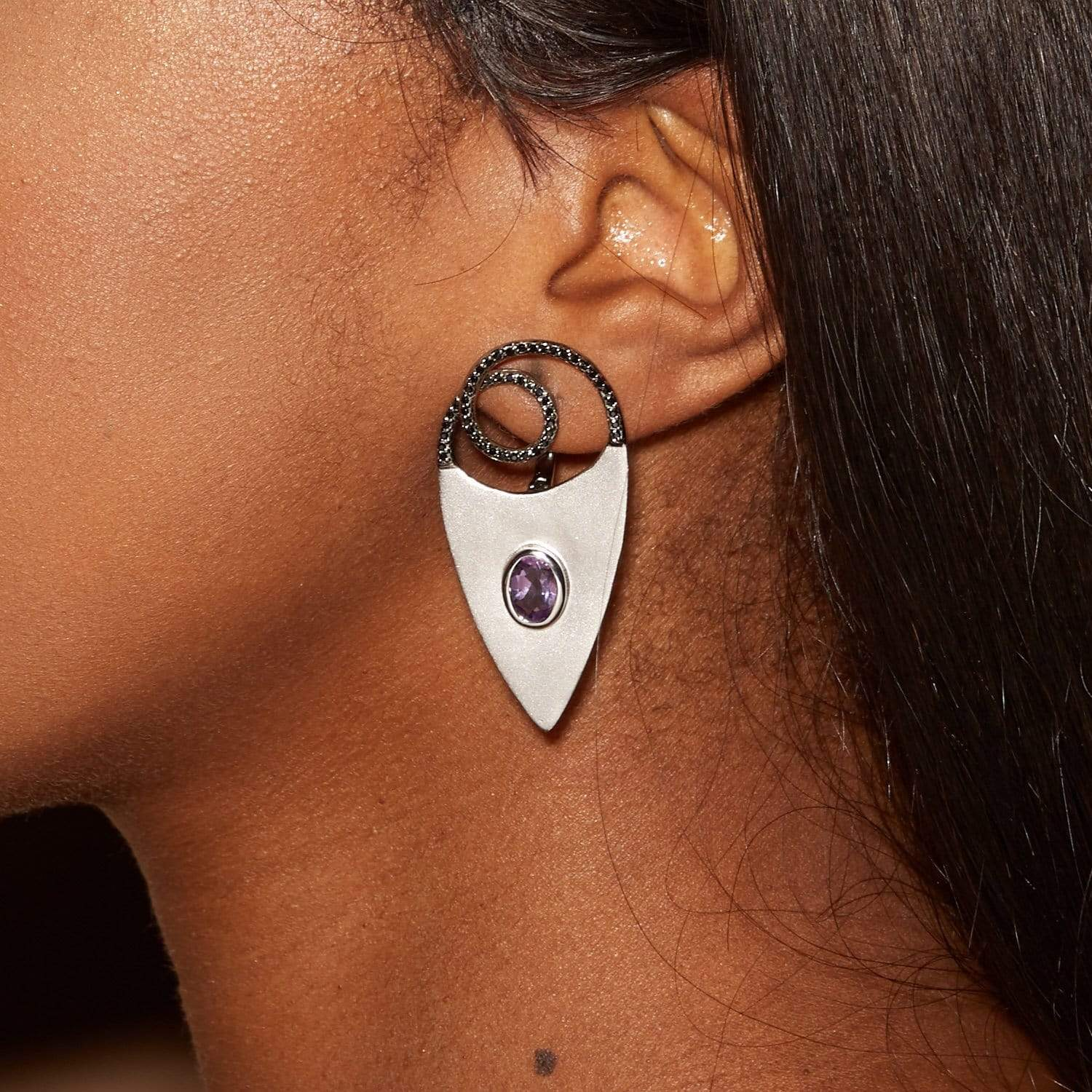 Telumis Earrings, Amethyst, Gold, Rhodium, Serial, silver, spo-disabled, StoneColor:Blue, StoneColor:MixedColor, Topaz Earrings