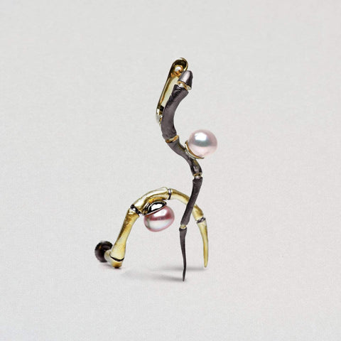 Aranea Earrings, Gold, gray, Pearl, Rhodium, Serial, spo-disabled, StoneColor:White Earrings