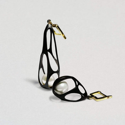 Riona Earrings, Anthracite, black, Gold, Pearl, Serial, spo-disabled, StoneColor:White Earrings