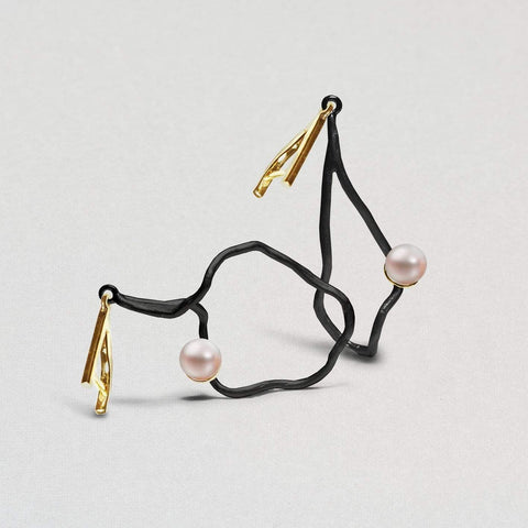 Della Earrings, Anthracite, black, Gold, Pearl, Serial, spo-disabled, StoneColor:White Earrings