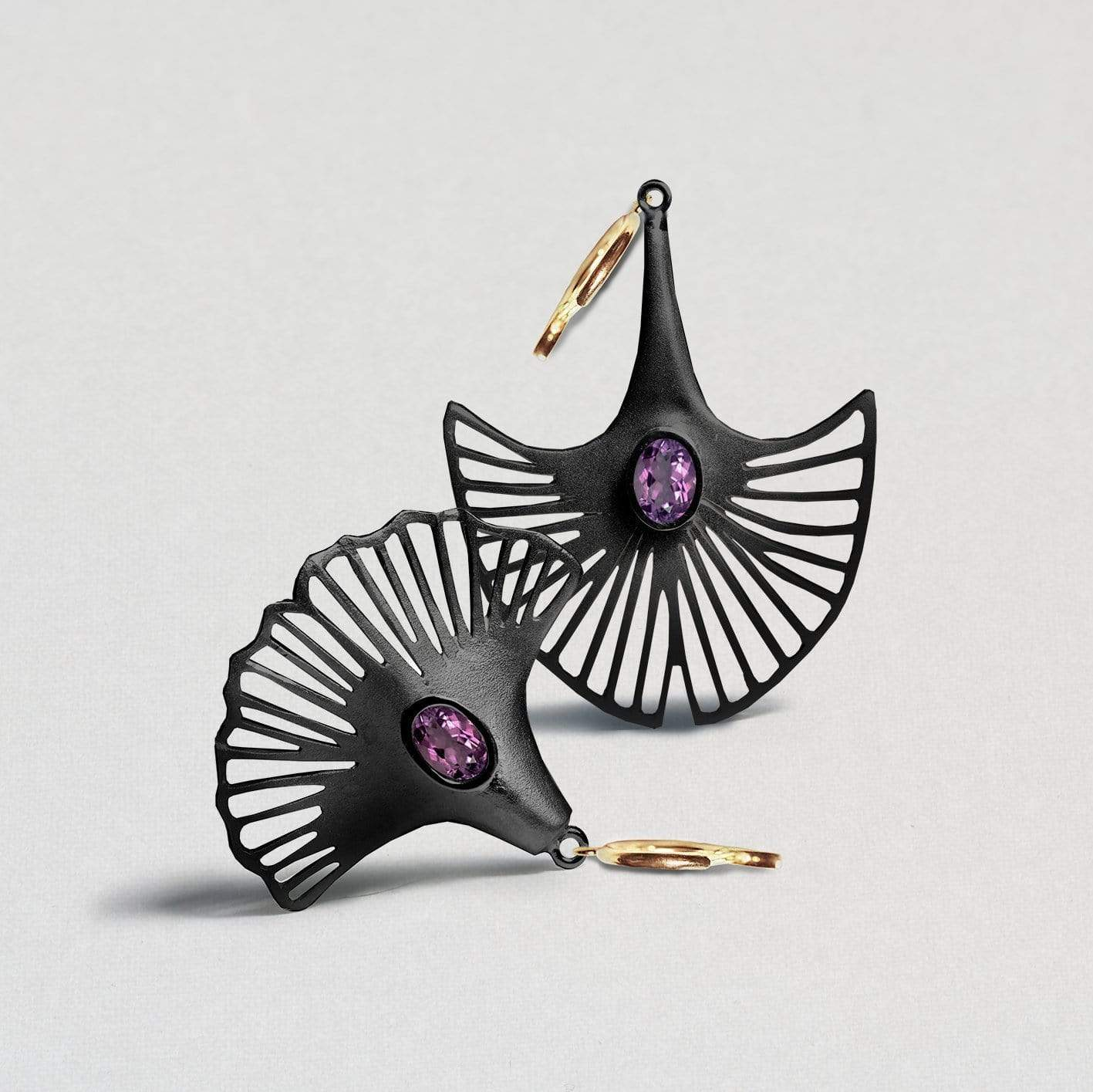 Nabila Earrings, Amethyst, Anthracite, black, Gold, Serial, spo-disabled, StoneColor:purple Earrings