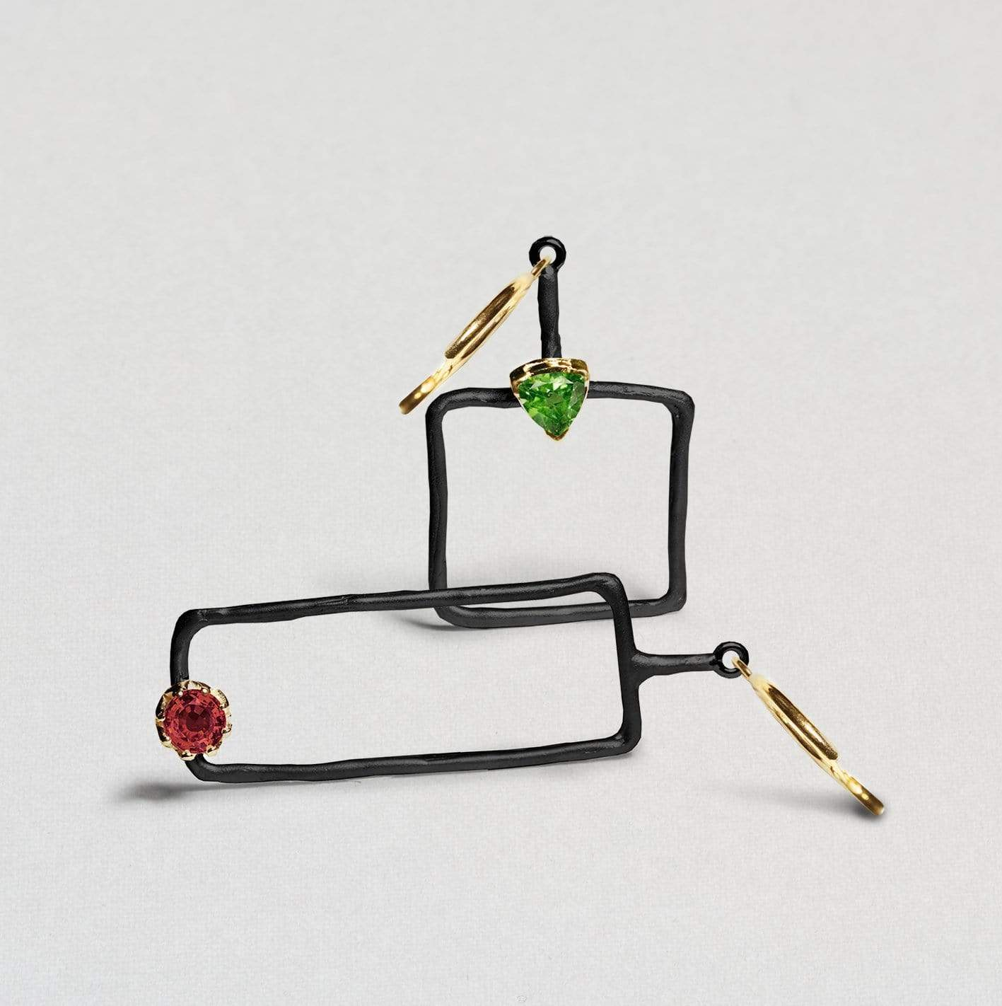 Mana Earrings, Anthracite, black, Garnet, Gold, Peridot, Serial, spo-disabled, StoneColor:Green, StoneColor:Red Earrings