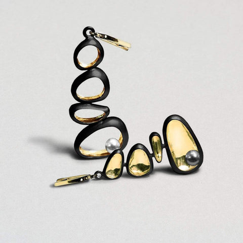 Melina Earrings, Anthracite, black, Gold, Pearl, Serial, spo-disabled, StoneColor:White Earrings
