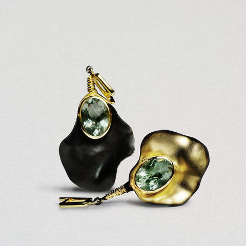 Floris Earrings, Amethyst, Anthracite, black, Gold, Serial, spo-disabled, StoneColor:Green Earrings