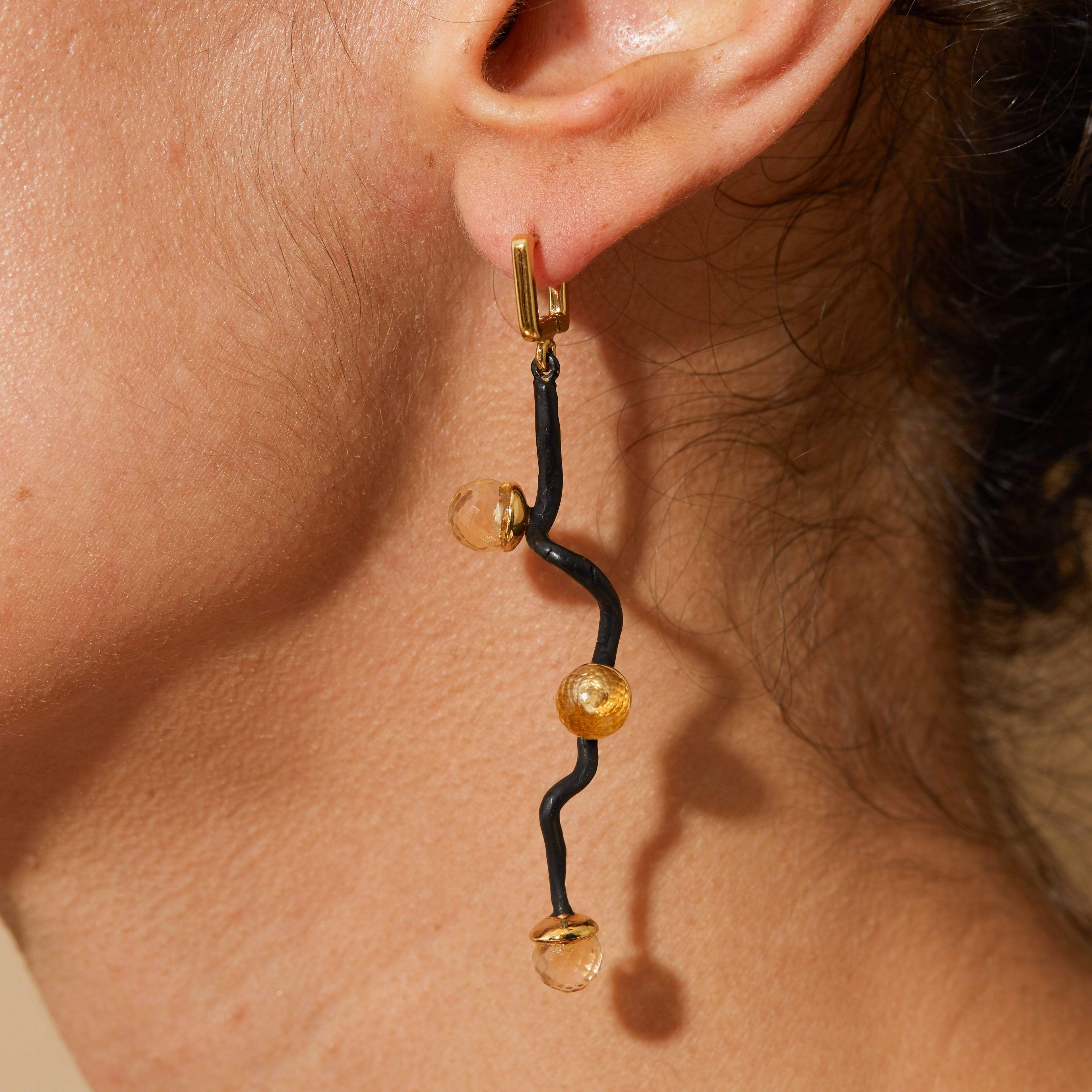 Calyxa Earrings, Amethyst, Anthracite, black, Citrine, Gold, Serial, spo-disabled, StoneColor:MixedColor Earrings