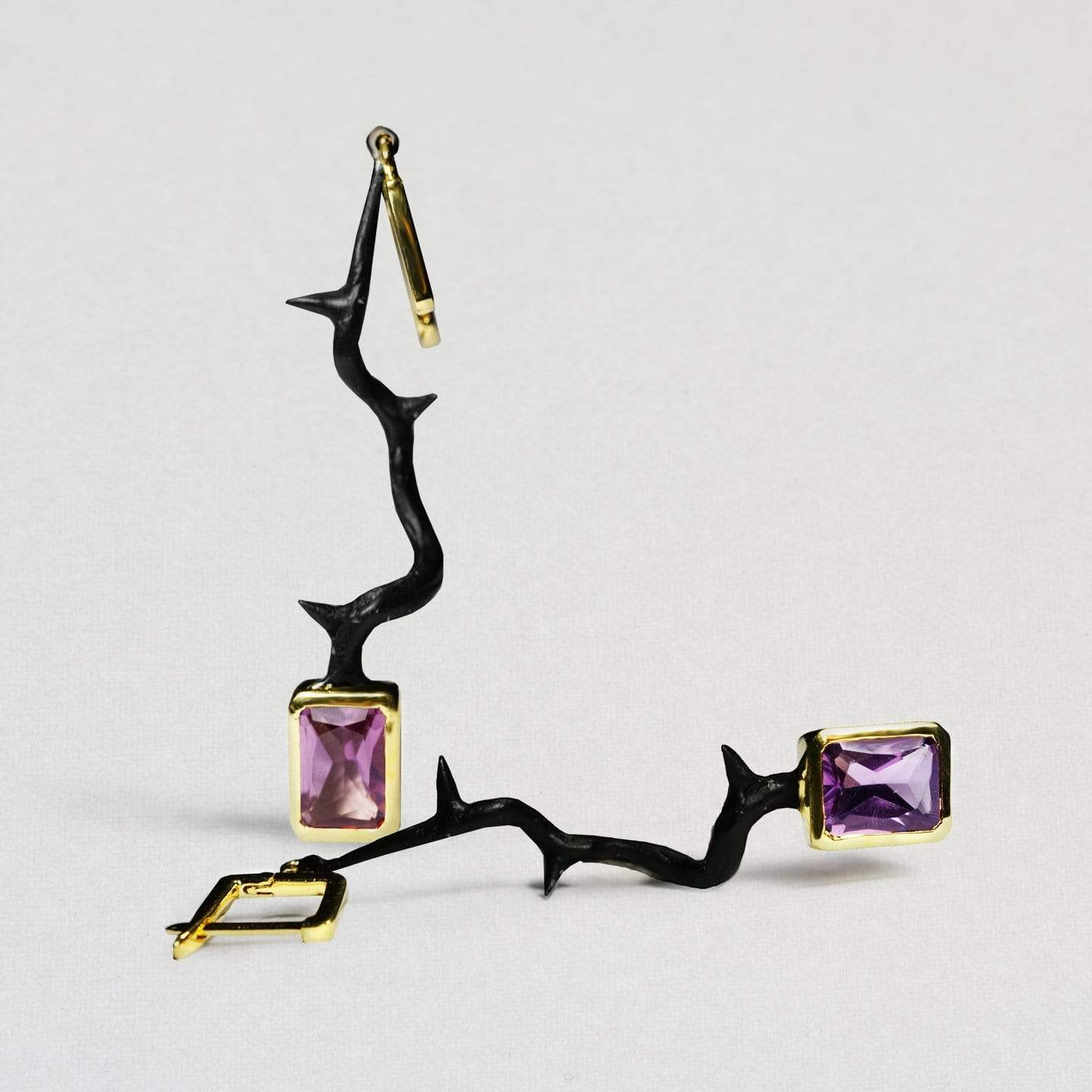Incanta Earrings, Amethyst, Anthracite, black, Gold, Serial, spo-disabled, StoneColor:purple Earrings
