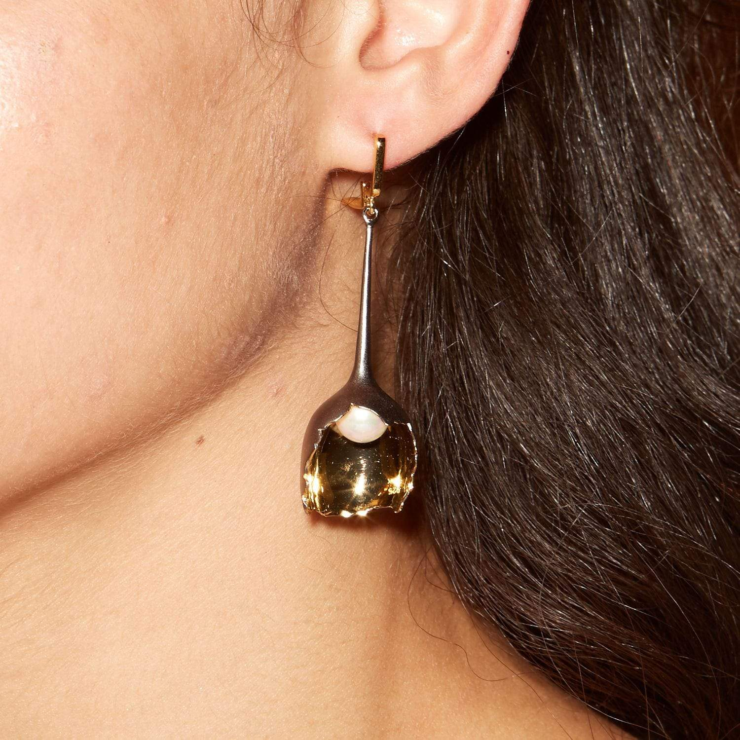 Florana Earrings, Gold, gray, Pearl, Rhodium, Serial, spo-disabled, StoneColor:White Earrings