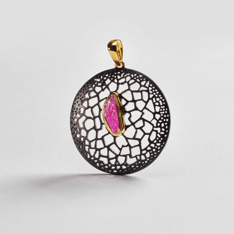 Dracena Pendant, Anthracite, black, Gold, Handmade, Ruby, spo-disabled, StoneColor:Pink, Style:Statement, Type:BlackAnthracite Pendant