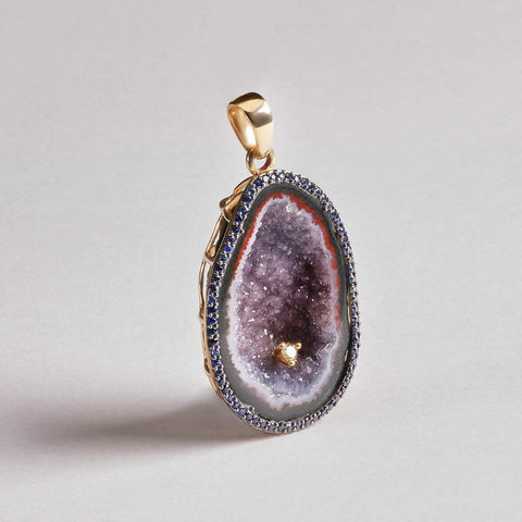 Kalene Quartz Brush and Sapphire Pendant