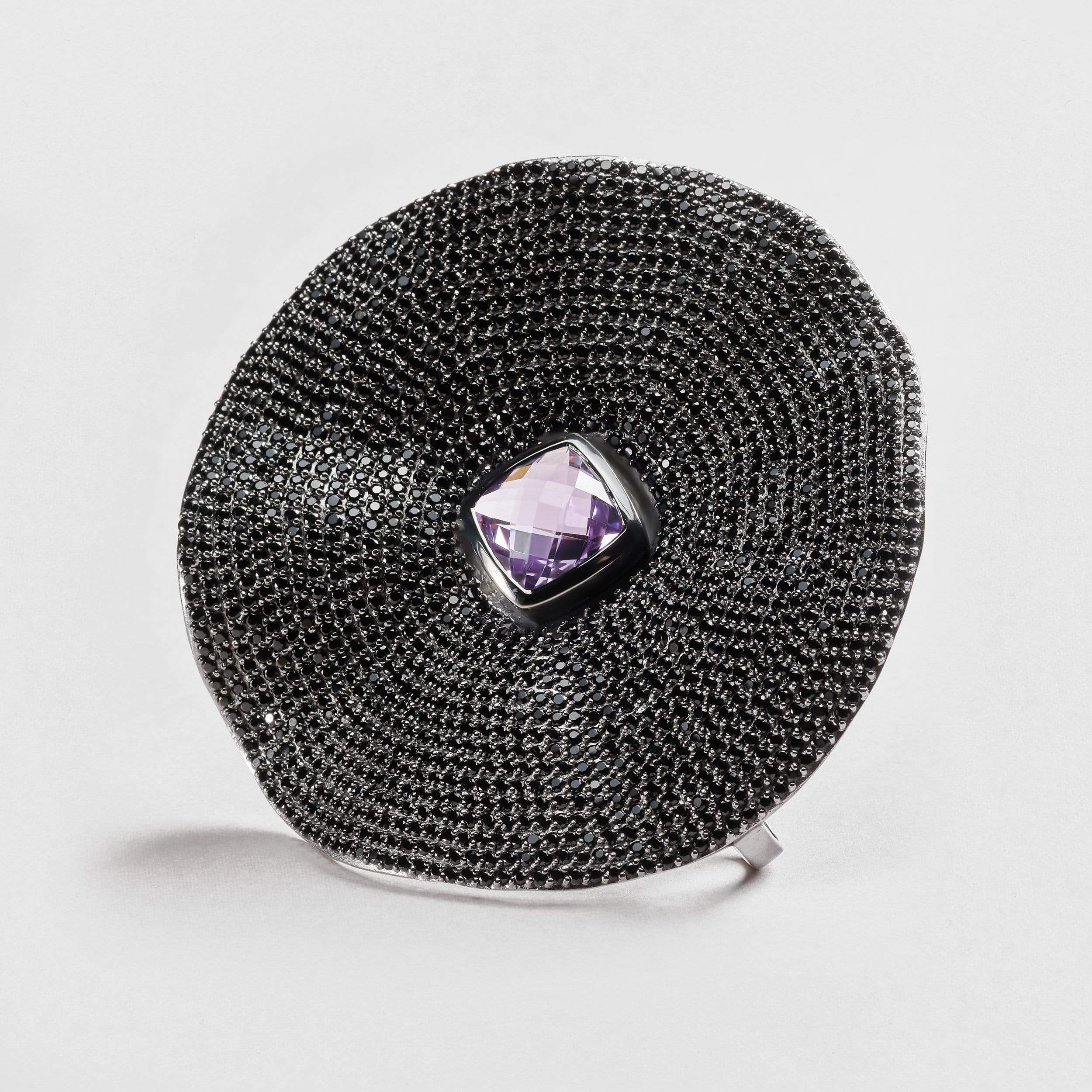 Eril Amethyst and Black Spinel Pendant
