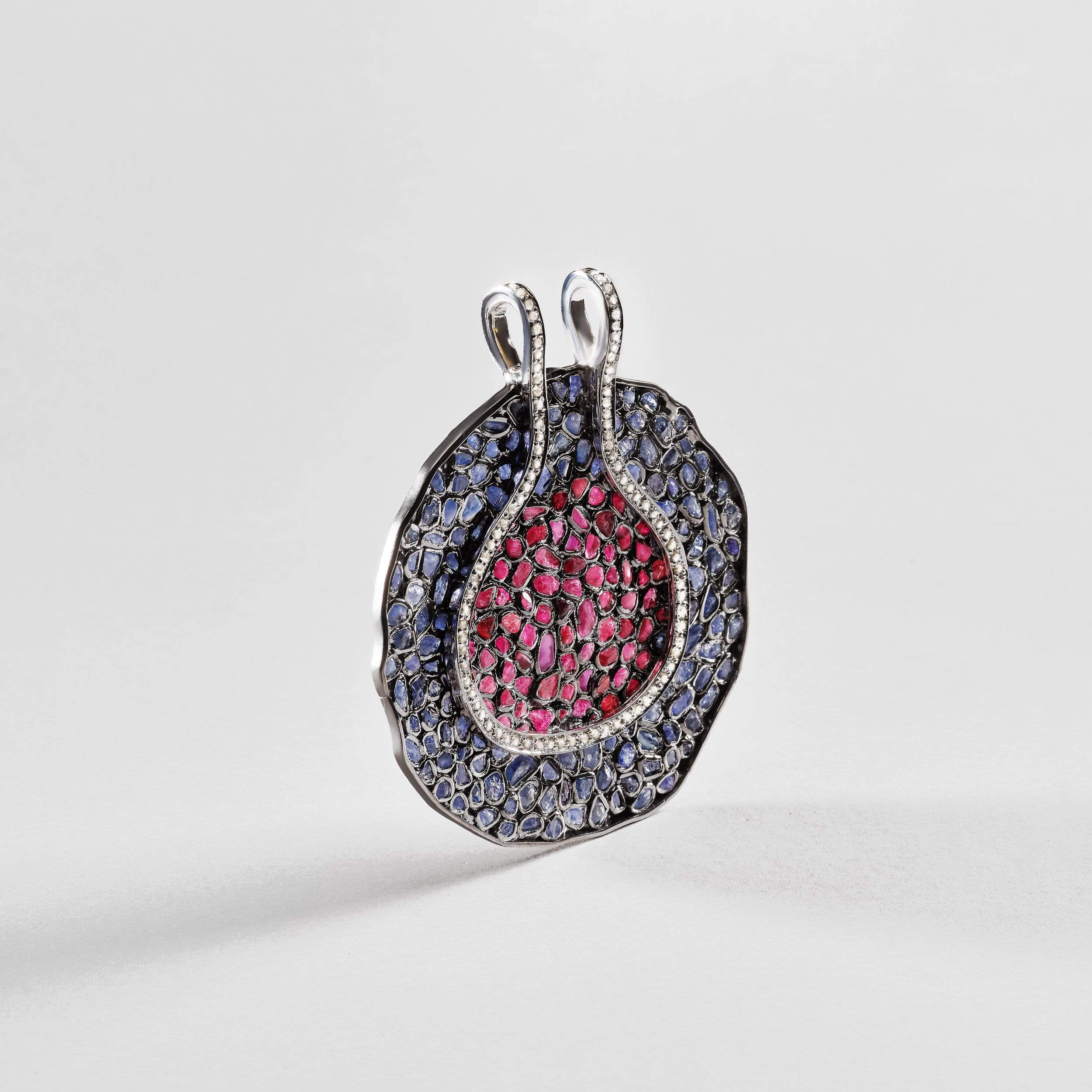 Anemone Sapphire and Ruby Pendant