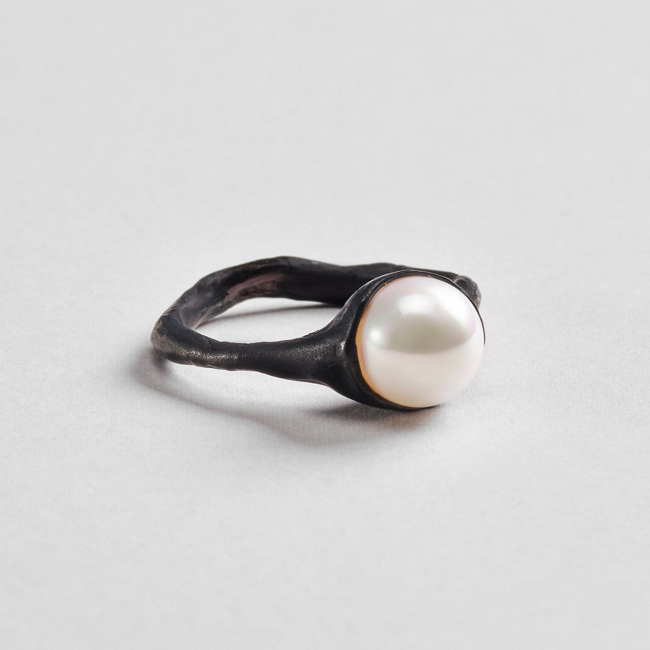 Malka Ring, Anthracite, black, Gold, Pearl, Serial, spo-disabled, StoneColor:White Ring