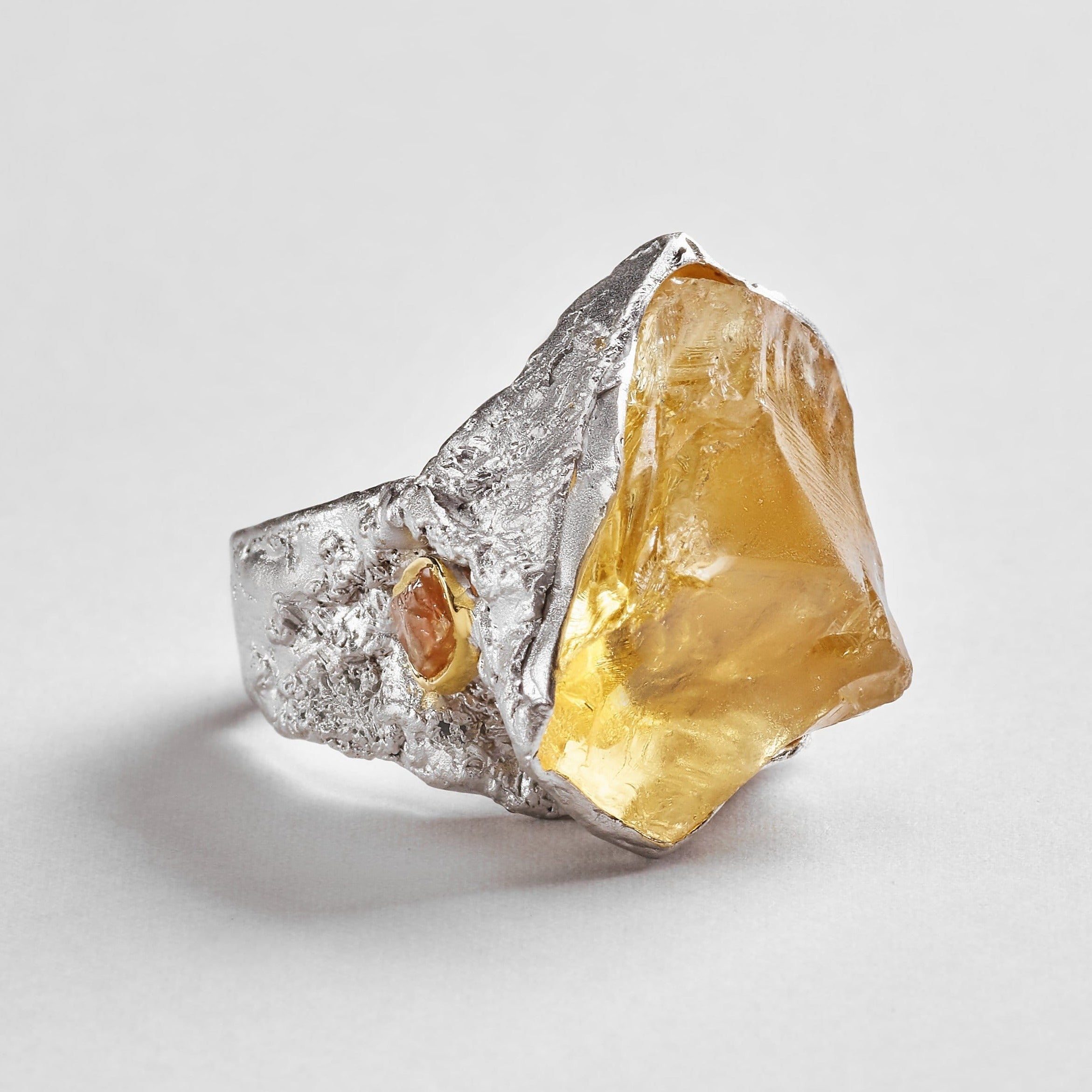 Christel Ring, Citrine, Gold, Handmade, Rhodium, silver, spo-disabled, StoneColor:Red, Style:Statement, Type:LargeSoloStone Ring