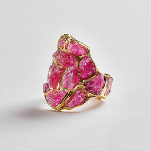 Nerissa Ruby Ring, Gold, Handmade, Ruby, spo-disabled, StoneColor:PinkRuby, Style:Everyday, Type:StainedGlass Ring
