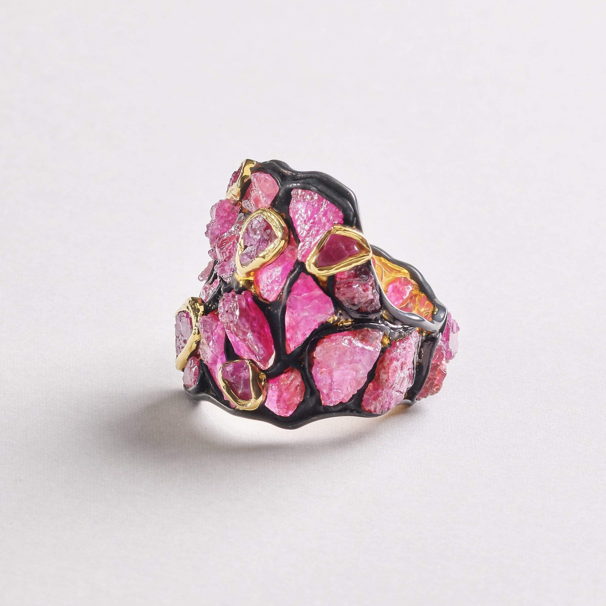 Medea Ruby Ring, Anthracite, black, Gold, Handmade, Ruby, spo-disabled, StoneColor:PinkRuby, Style:Everyday, Type:StainedGlass Ring