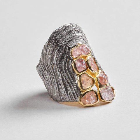 Elora Ring, Gold, gray, Handmade, Rhodium, Sapphire, spo-disabled, StoneColor:PastelColor, Style:Everyday, Type:StoneCandyScattered Ring