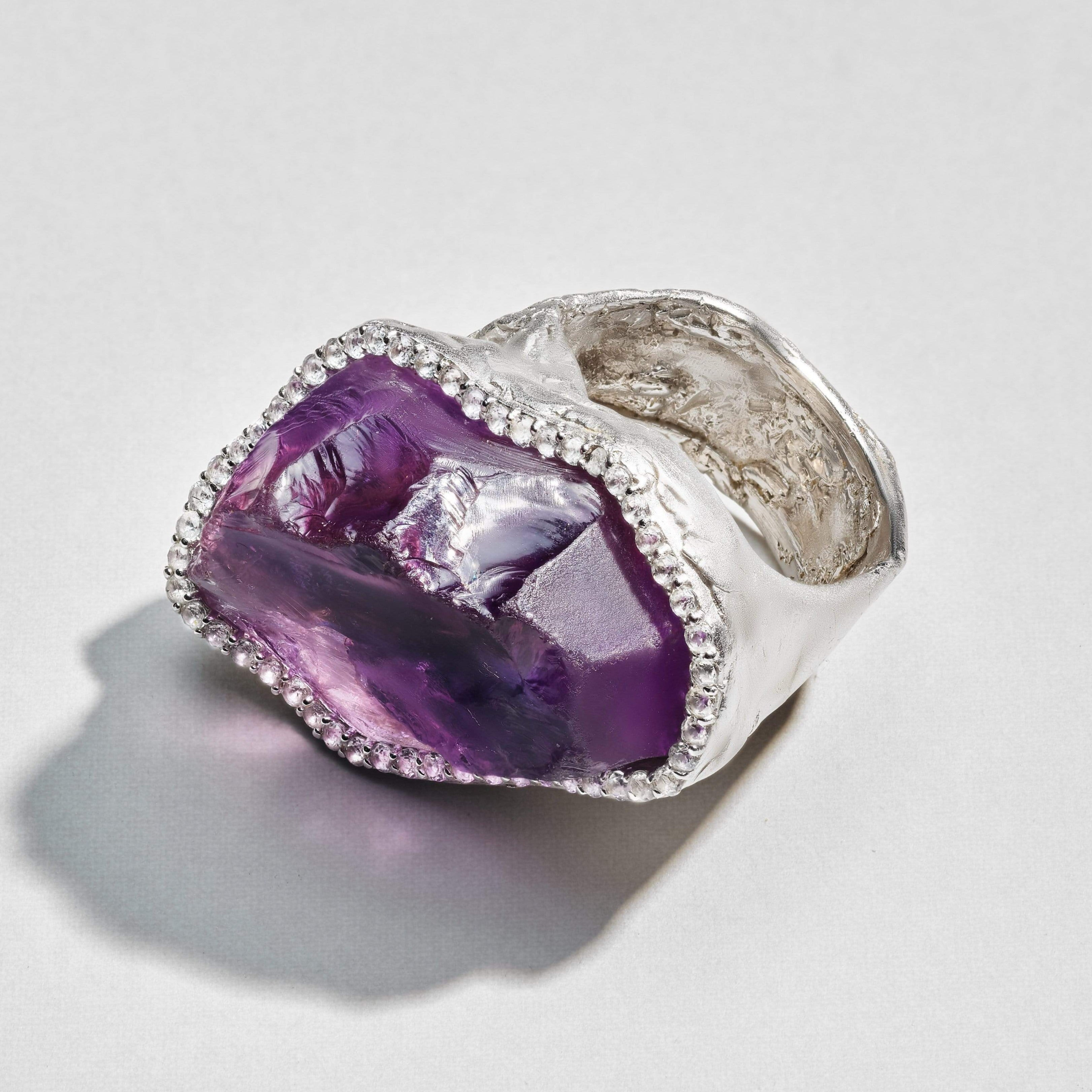 Divana Ring, Amethyst, Exclusive, Rhodium, silver, spo-disabled, StoneColor:purple, Style:Statement, Topaz, Type:LargeSoloStone Ring