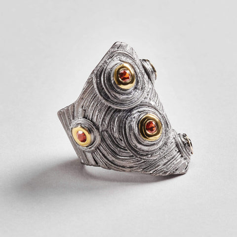 Nyla Ring, Garnet, Gold, gray, Rhodium, Serial, spo-disabled, StoneColor:Red Ring