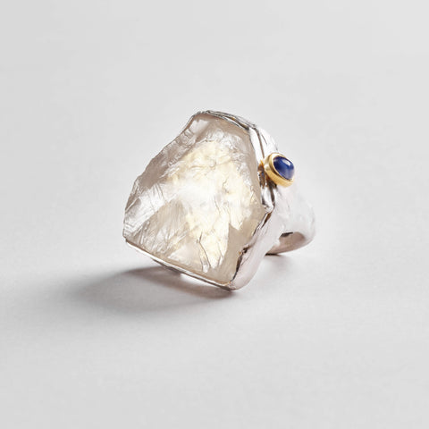 Adina Ring, Gold, Handmade, Quartz, Rhodium, Sapphire, silver, spo-disabled, StoneColor:White, Style:Statement, Type:LargeSoloStone Ring