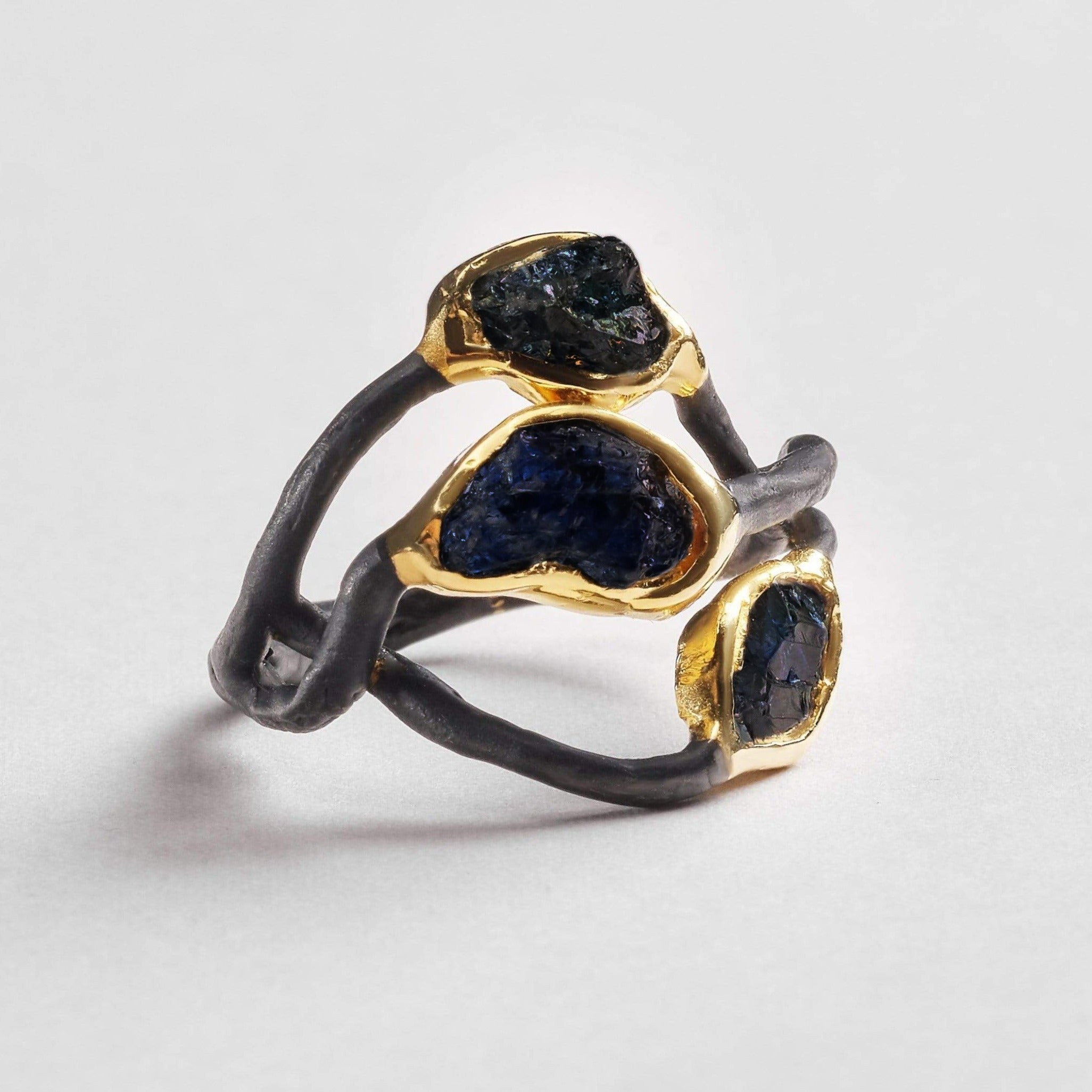 Awen Ring, Anthracite, black, Gold, Handmade, Sapphire, spo-disabled, StoneColor:DeepBlue, Style:Delicate, Type:BlackAnthracite, Type:StoneCandyDelicate Ring