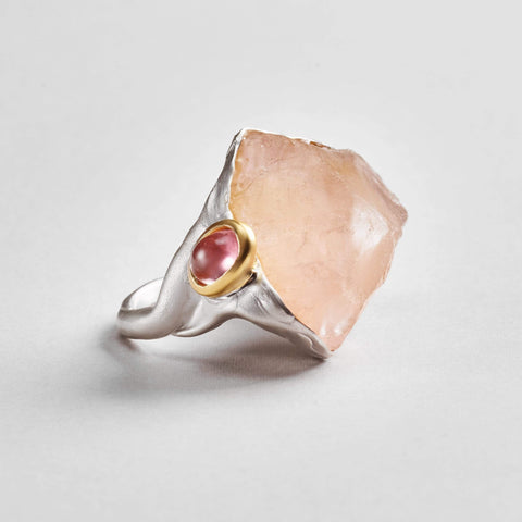 Erna Ring, Gold, Handmade, Quartz, Rhodium, silver, spo-disabled, StoneColor:PastelColor, Style:Statement, Tourmaline, Type:LargeSoloStone Ring
