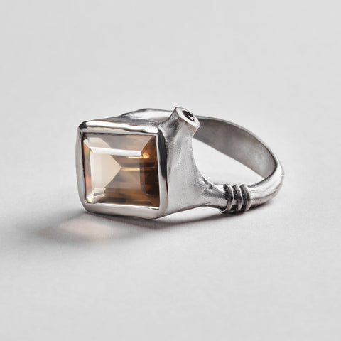 Zina Ring, gray, Quartz, Rhodium, Serial, Spinel, spo-disabled, StoneColor:White Ring