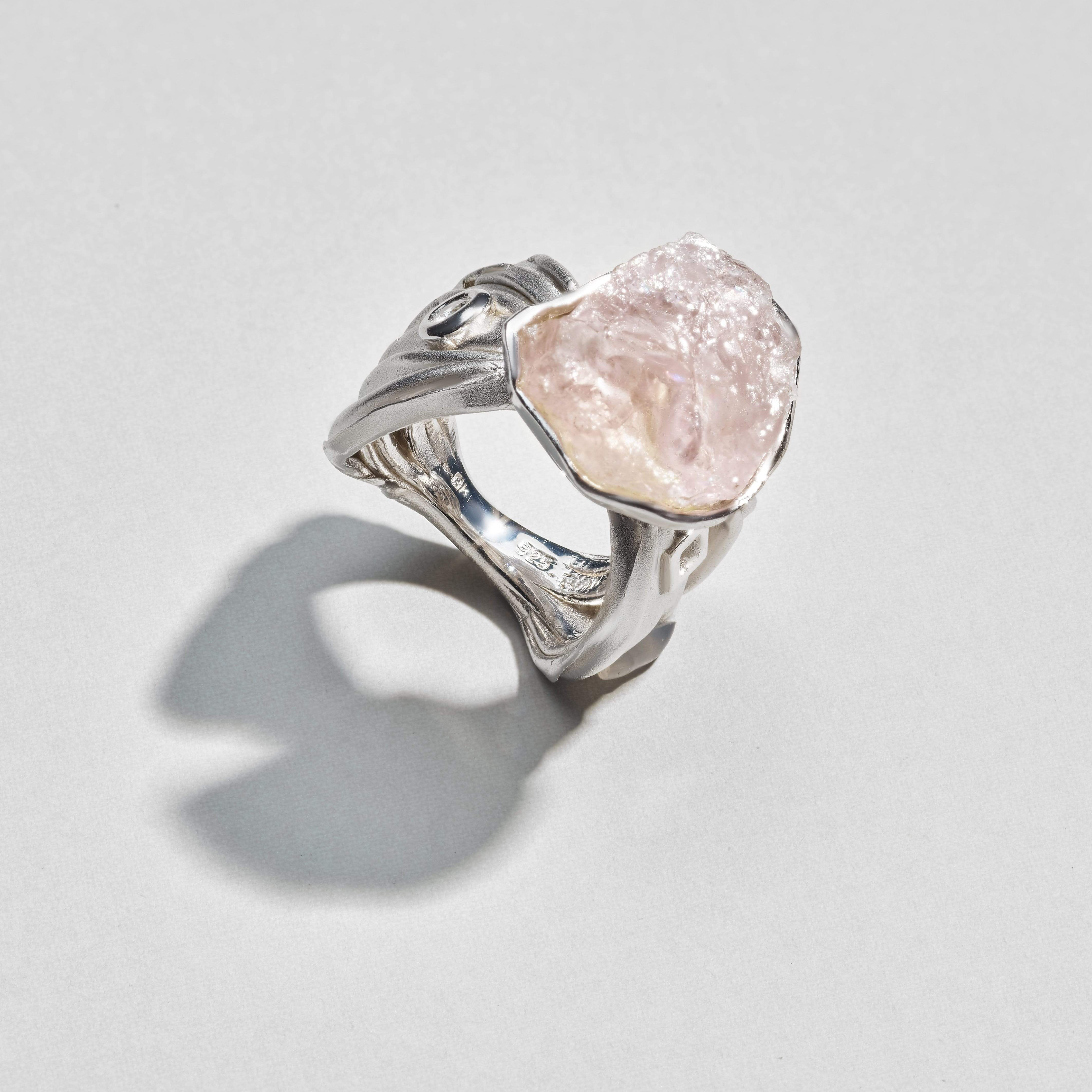 Ellisa Ring, Handmade, Morganite, Rhodium, silver, spo-disabled, StoneColor:White, Style:Statement, Topaz, Type:LargeSoloStone Ring