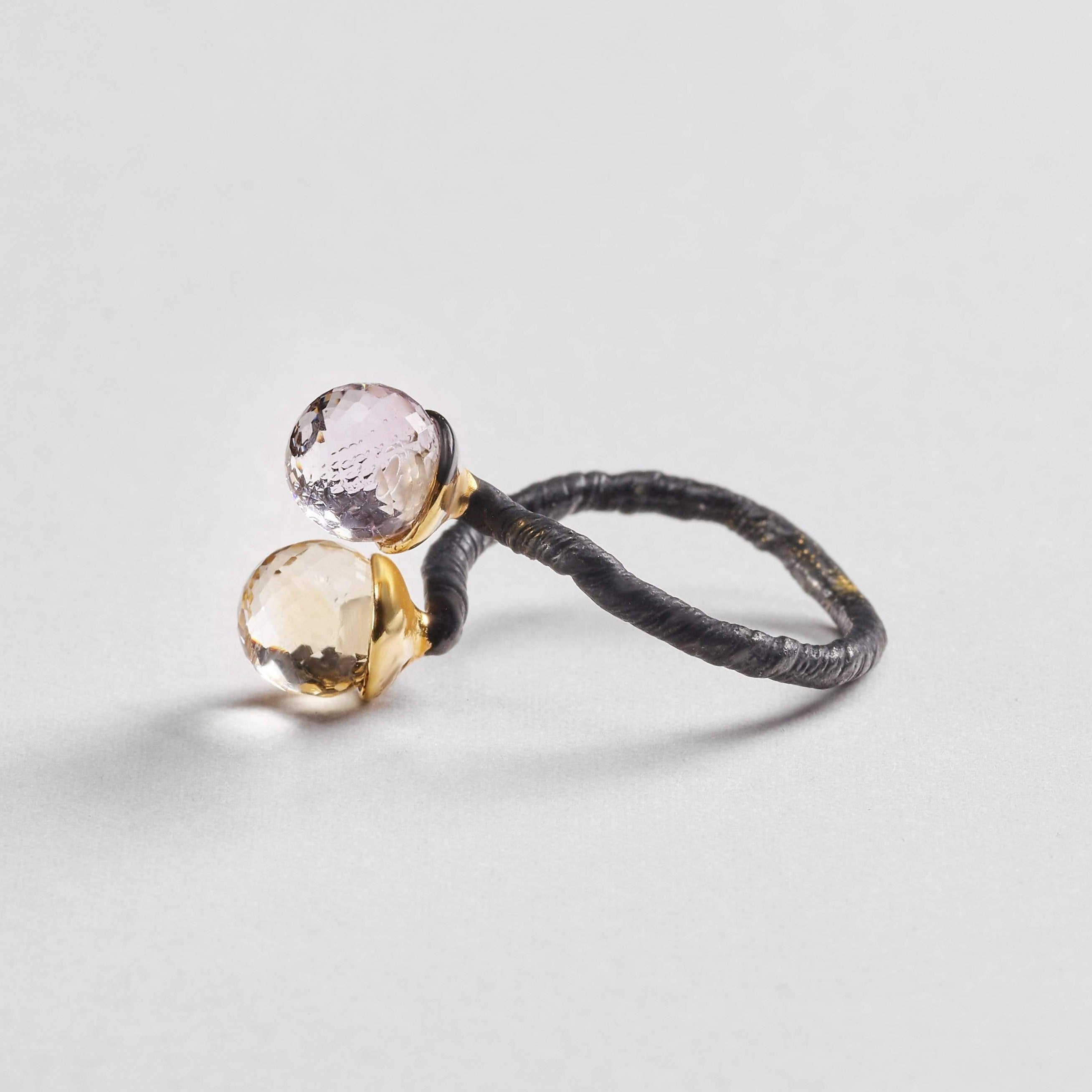 Leda Ring, Amethyst, Anthracite, black, Citrine, Gold, Serial, spo-disabled, StoneColor:MixedColor Ring
