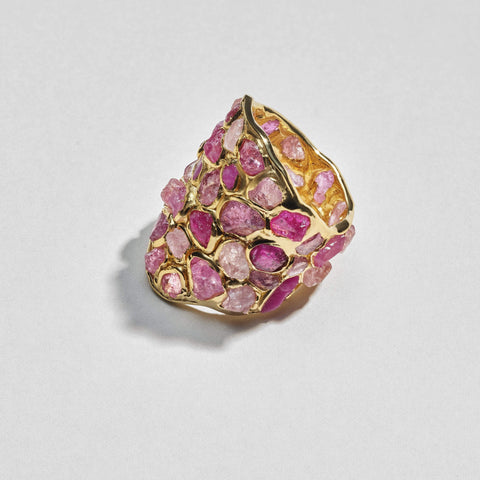 Nerissa Clear Ring, Gold, Handmade, Sapphire, spo-disabled, StoneColor:Pink, Style:Everyday, Type:StainedGlass Ring
